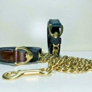 English Sedgwick Leather Show Lead Rein With Brass Chain & Loop Handle